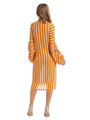 Brightly Yellow Stripe Print Midi Dress Lantern Sleeve
