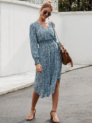 Spectacular Blue Lantern Sleeve Midi Dress Leopard Print