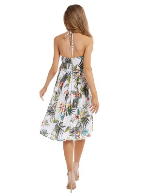 Glittering White Tropical Plants Midi Dress Halter Neck