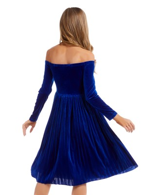 Bewildering Royal Blue Solid Color Midi Dress High Waist Casual