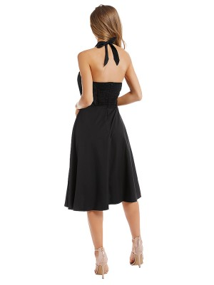 Surprising Black Solid Color Halter Neck Midi Dress Cheap Online