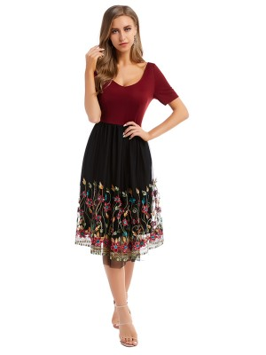 Super Sexy Wine Red Midi Dress Short Sleeve Patchwork Snug Fit