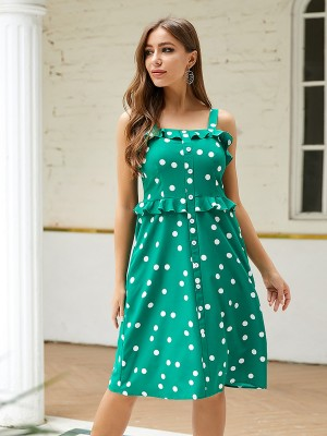 Remarkable Green Polka Dot Sling Midi Dress Ruffled Versatile Item