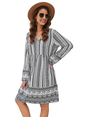 Good-Looking Black Full Sleeve Midi Dress Digital Print
