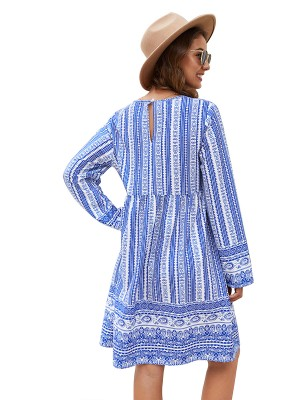 Loose Fitting Blue Back Hollow Out Midi Dress V-Neck Stretch