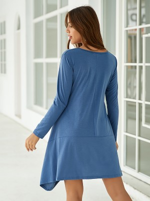 Slimming Blue Irregular Hem Midi Dress Round Collar Cool