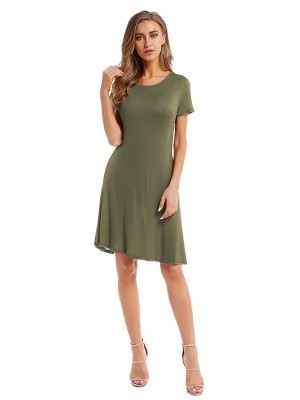 Staple Army Green Plain Midi Dress Pleated Crewneck Romance