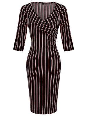 Black Half Sleeves Stripe Midi Dress V Neck Great Quality