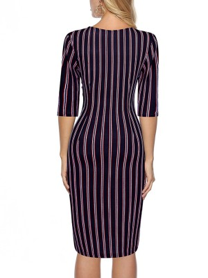 Navy Blue Wrap V Neck Stripe Printed Midi Dress Elasticity