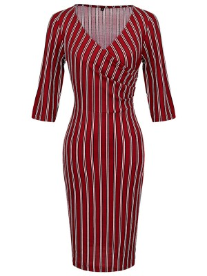 Wine Red Stripe Print Half Sleeves Midi Dress Classic Dress