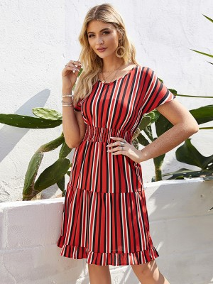 Beautifully Designed Short Sleeve Summer Dress High Rise Chic