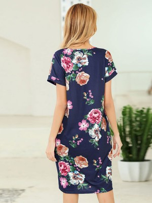 Comfort Blue Summer Dress Floral Pattern V Neck Superior Comfort