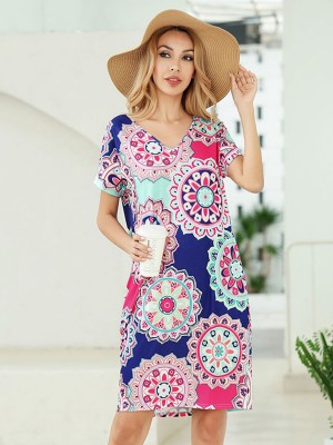 Loose Fitting Short Sleeve Mini Length Summer Dress Outdoor