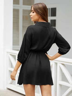 Charming Black Drawstring Waist Mini Dress 3/4 Sleeve Women Outfit