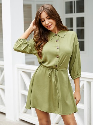 Minimalist Blackish Green Lantern Sleeves Buttons Mini Dress Stretch