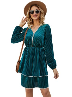 Glamorous Blue Mini Dress Lantern Sleeve V Neck For Girls