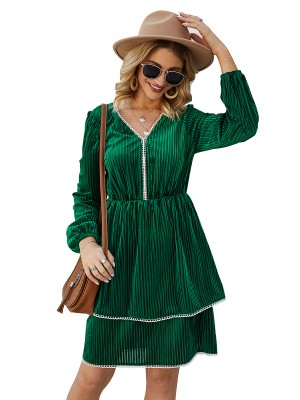 Splendid Green High Waist Mini Dress Full Sleeves