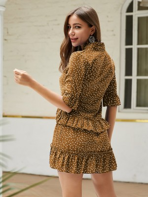 Romance Brown Ruffle Mini Dress Dots Large Size For Walking