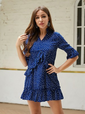 Slim Fit Navy Blue Large Size Mini Dress Dot V Collar Lightweight