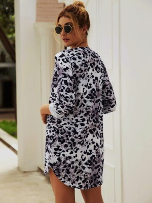 Pleasurable Apricot Mini Dress Leopard Pattern V Collar For Hanging Out