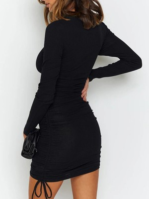 Glittering Black Plain Long Sleeve Mini Dress Drawstring Garment
