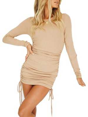 Faddish Khaki Mini Length Ruched Long Sleeves Dress For Party