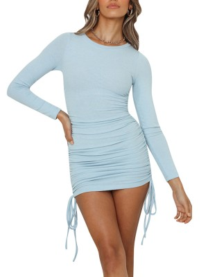 Colorful Blue Bodycon Mini Dress Drawstring Side Ruch Outfits