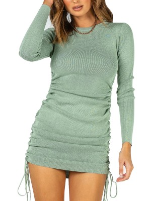 Particularly Green Full Sleeve Drawstring Ruched Mini Dress Girls