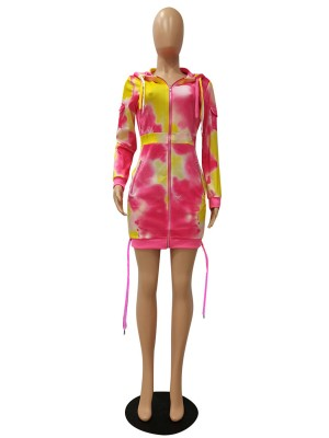Tie-Dyed Hooded Neck Mini Dress Newest Fashion