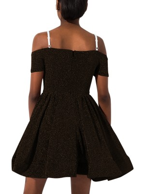 Comfort Black Short Sleeve Skater Dress Solid Color Eye Catcher