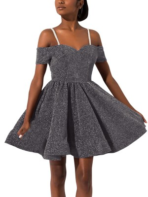 Glam Gray Mini Length Sling Skater Dress Female Fashion