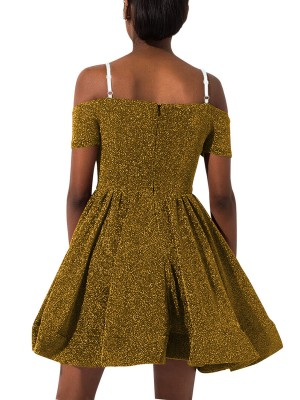 Charming Yellow Skater Dress Zipper Sequin Straps Modern Fashion