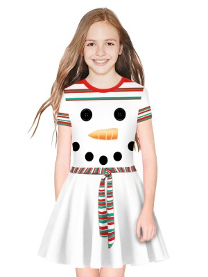 Stunning Digital Print Kid Dress Crew Neck Form Fit