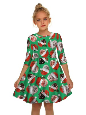 Sophisticated Santa Claus Print Mom Kid Dress Stretchy