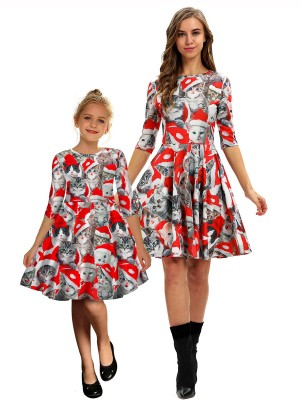 Supper Fashion Crew Neck Cat Pattern Mom Kid Dress Slim