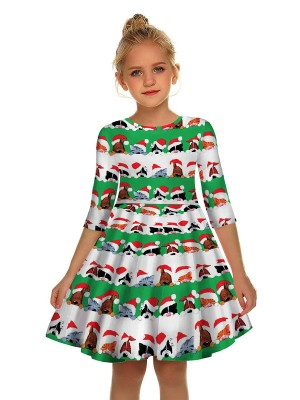 Stretchable Animal Paint Swing Hem Mom Kid Dress Fashion Ideas