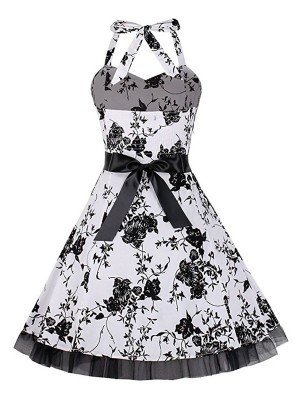 Super Trendy Halter Neck Large Size Skater Dress For Playing