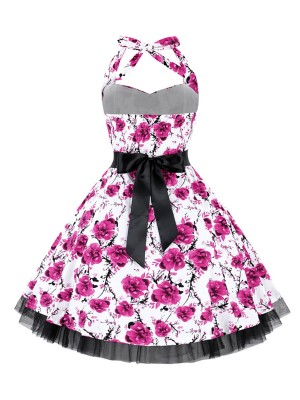 Formal Plus Size Skater Dress Flower Printed For Traveling