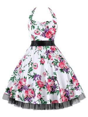 Gracious Tie Queen Size Skater Dress Swing Hem Smooth Material