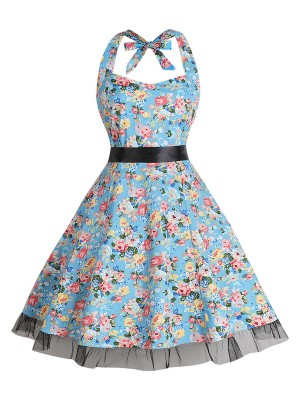 Feminine Curve Big Size Floral Printing Skater Dress Outfits