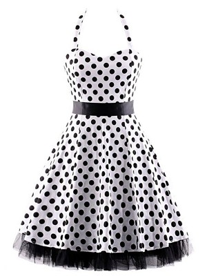 Flattering Sleeveless Dot Large Size Skater Dress Fashion Online