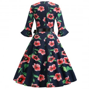 Alluring Red Waist Tie Skater Dress Flower Printed Female