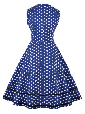 Minimalist Blue Bowknot Zip Skater Dress Big Size For Upscale