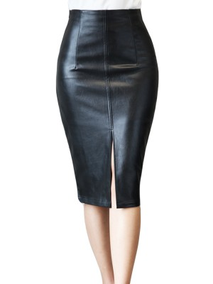 Bodycon Fit Black PU Bodycon Skirt High Waist Slit For Women