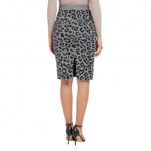 Eye-Catching Gray Leopard Printed Skirt Back Split Adult