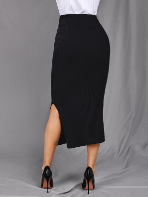 Conservative Black Solid Color Side Slit Maxi Skirt For Sexy Women
