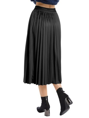 Ultra Hot Black Solid Color High Waist Maxi Skirt Female Fashion