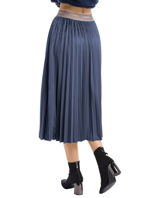 Distinctive Blue High Waist Maxi Dress Ruched Garment