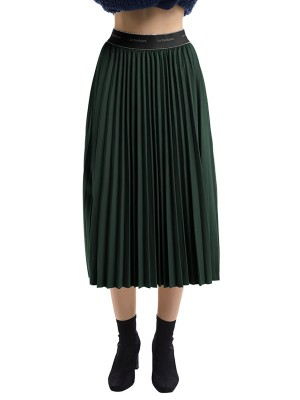 Pleasurable Green Maix Skirt High Rise Ruched Trim Comfort Fabric