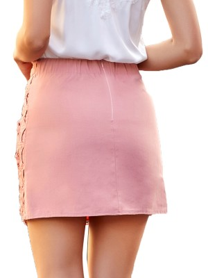 Eye-Catching Pink Zipper At Back Knit Mini Carving Skirt Great Quality